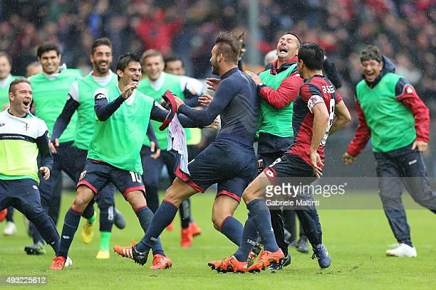 Panagiotis Tachtsidis of Genoa CFC celebrates after scoring a goal during the Serie A match between Genoa CFC and AC Chievo Verona at Stadio Luigi...