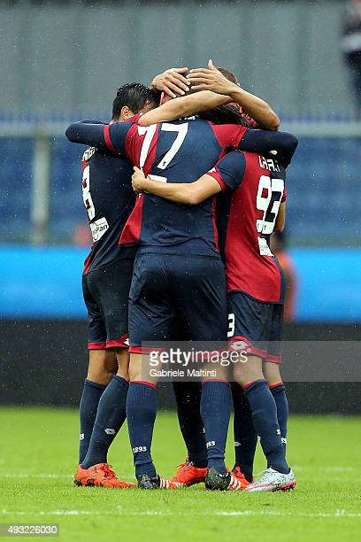 Panagiotis Tachtsidis of Genoa CFC celebrates the victory after the Serie A match between Genoa CFC and AC Chievo Verona at Stadio Luigi Ferraris on...
