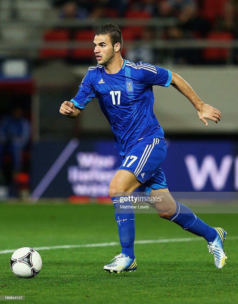 'Panagiotis Tachtsidis of Greece in action during the International Friendly match between Greece and Switzerland at Karaiskakis Stadium on February 6, 2013 in Athens, Greece.
