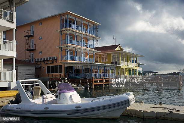 Panama Bocas del Toro seafront Panama Shoreline of Bocas Town with hotels restaurants and water taxis Bocas del Toro Panama The Archipelago of Bocas...
