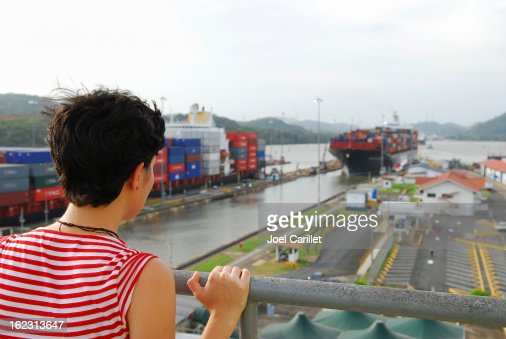 Panama Canal tourist at Miraflores Locks