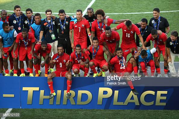 Panama celebrates after defeating the United States during the CONCACAF Gold Cup Third Place Match at PPL Park on July 25 2015 in Chester...