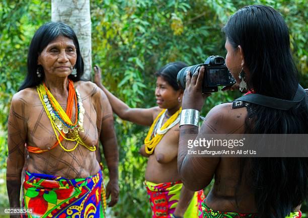 Panama Darien province Bajo Chiquito Embera tribe woman using a sony camera on April 13 2015 in Bajo Chiquito Panama