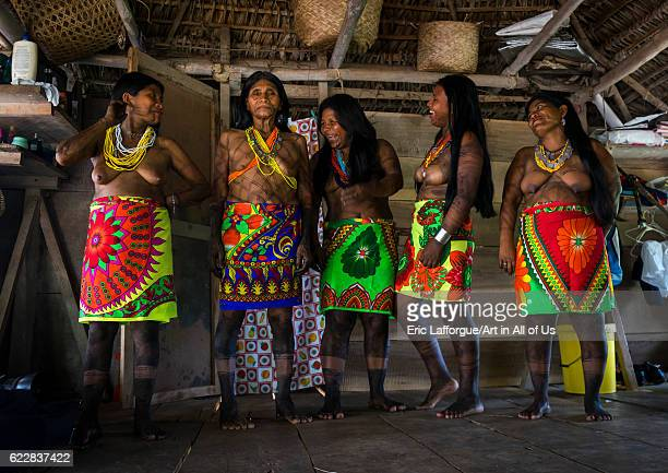 Panama Darien province Bajo Chiquito Laughing women of the native indian Embera tribe on April 13 2015 in Bajo Chiquito Panama