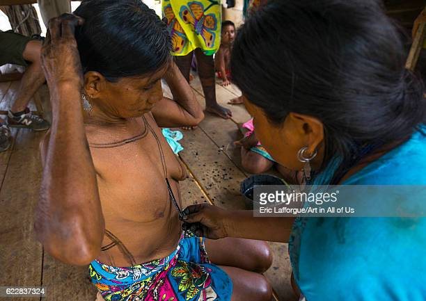 Panama Darien province Bajo Chiquito Woman of the native indian Embera tribe is ceremonially decorated with jagua bodypaint on April 13 2015 in Bajo...