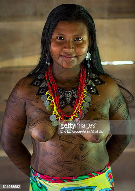 Panama Darien province Bajo Chiquito Woman of the native indian Embera tribe on April 13 2015 in Bajo Chiquito Panama