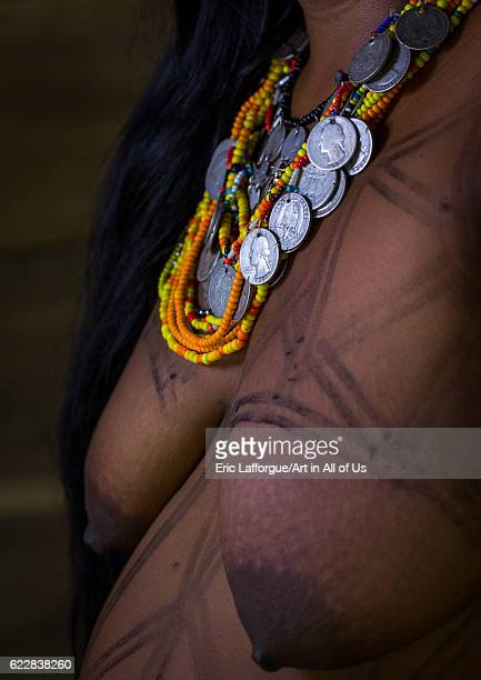 Panama Darien province Bajo Chiquito Woman of the native indian Embera tribe close up on April 13 2015 in Bajo Chiquito Panama