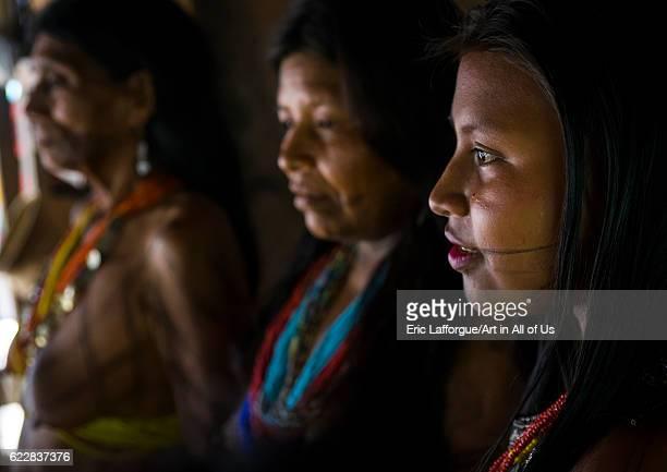 Panama Darien province Bajo Chiquito Women of the native indian Embera tribe portrait on April 13 2015 in Bajo Chiquito Panama