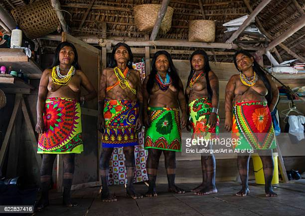 Panama Darien province Bajo Chiquito Women of the native indian Embera tribe on April 13 2015 in Bajo Chiquito Panama