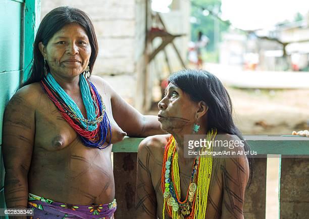 Panama Darien province Bajo Chiquito Women of the native indian Embera tribe on April 13 2015 in Bajo Chiquito Panama