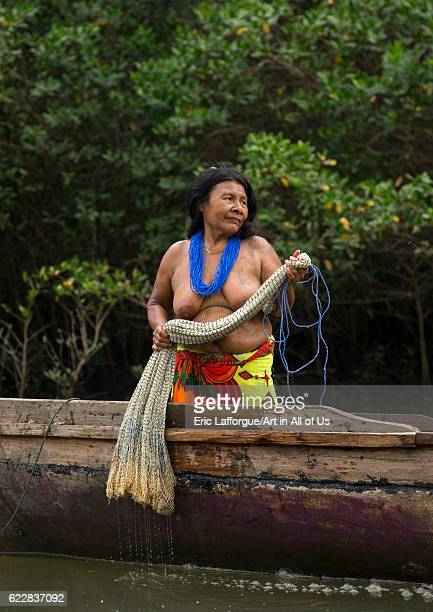 Panama Darien province Puerta Lara Wounaan tribe woman going to fish with a net on April 11 2015 in Puerta Lara Panama
