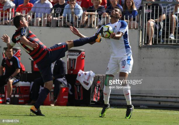 Panama defender Ismael Diaz takes a ball to the face as he and the United State's Alejandro Bedoya fight for control in the first half during the...