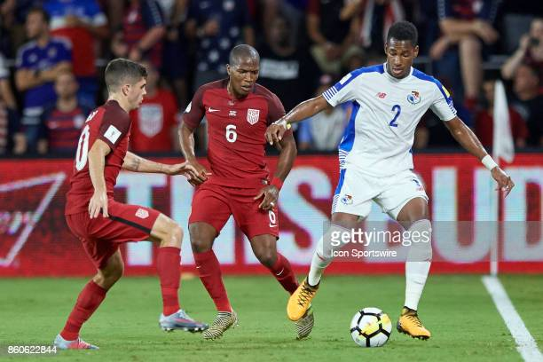 Panama defender Michael Murillo battles with United States midfielder Christian Pulisic and the United States midfielder Darlington Nagbe during the...