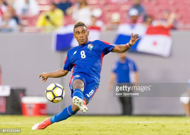 Panama Edgar Barcenas shoots on goal during the CONCACAF Gold Cup soccer match between the Panama and Nicaragua on July 12 2017 at Raymond James...