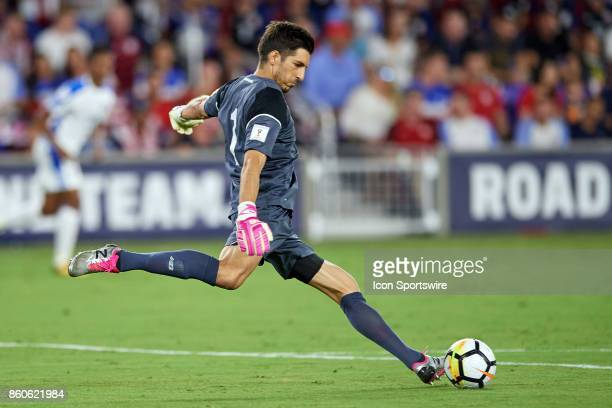 Panama goalkeeper Jaime Penedo kicks the ball during the World Cup Qualifying match between the the United States and Panama on October 6 2017 at...