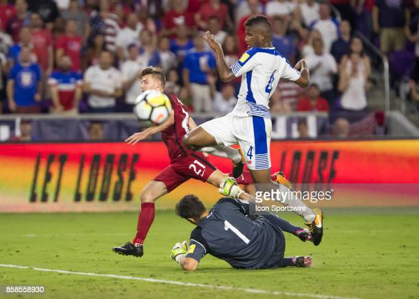 Panama goalkeeper Jaime Penedo saves United States Paul Arriolas shot on goal during the World Cup Qualifier soccer match between the USA Mens...