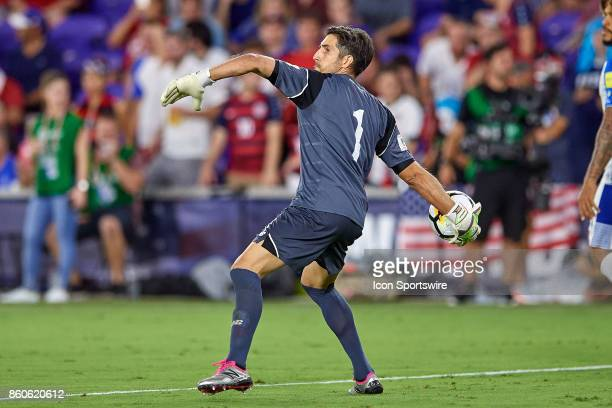 Panama goalkeeper Jaime Penedo throws the ball during the World Cup Qualifying match between the the United States and Panama on October 6 2017 at...
