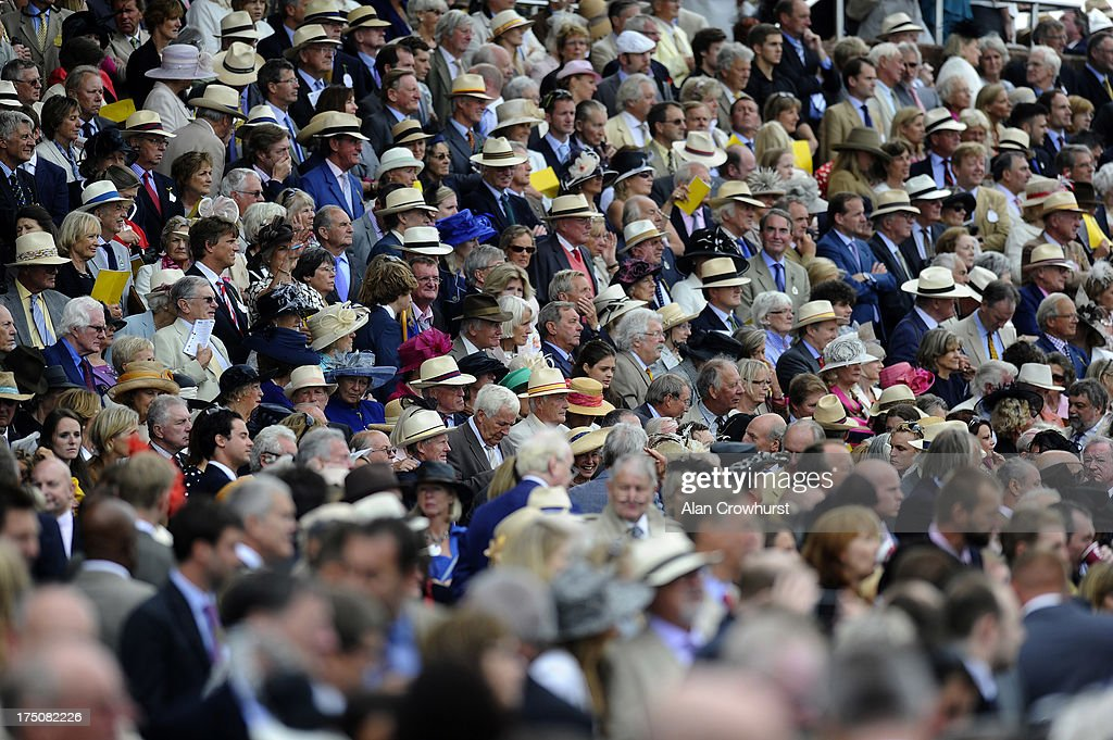Panama hats are seen in the stand at Goodwood racecourse on July 31, 2013 in Chichester, England.
