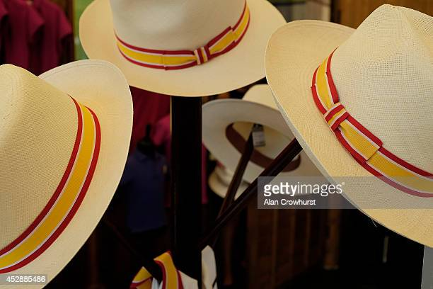 Panama hats for sale at Goodwood racecourse on July 29 2014 in Chichester England