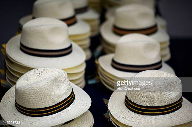 Panama hats for sale during Ladies Day at Epsom racecourse on June 01 2012 in Epsom England
