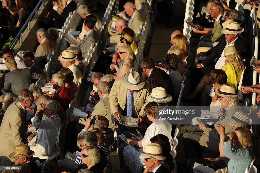 Panama hats on show at Goodwood racecourse on June 13, 2014 in Chichester, England.