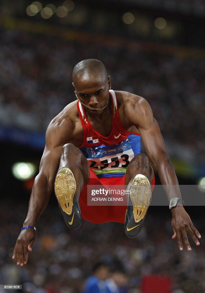Panama Irving Jahir Saladino Aranda competes during the men's long jump qualifiers at the National stadium as part of the 2008 Beijing Olympic Games on August 16, 2008. AFP PHOTO / ADRIAN DENNIS