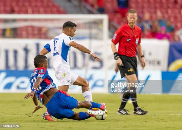 Panama Ismael Diaz slid tackles during the CONCACAF Gold Cup soccer match between the Panama and Nicaragua on July 12 2017 at Raymond James Stadium...