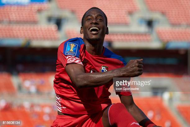 Panama midfielder Michael Murillo celebrates with teammates after scoring a goal during a CONCACAF Gold Cup Group B match between Panama v Martinique...