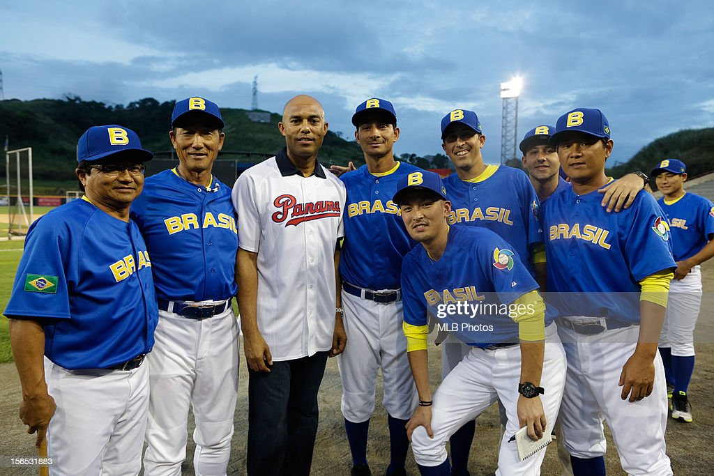 Panama native Mariano Rivera #42 of the New York Yankees poses for a photo with players of Team Brazil before Game 1 of the 2013 World Baseball Classic Qualifier between Team Brazil and Team Panama at Rod Carew National Stadium on November 15, 2012 in Panama City, Panama.