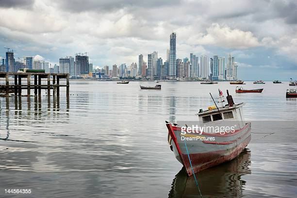 Panama, Panama City, Fishing boat with skyline in background