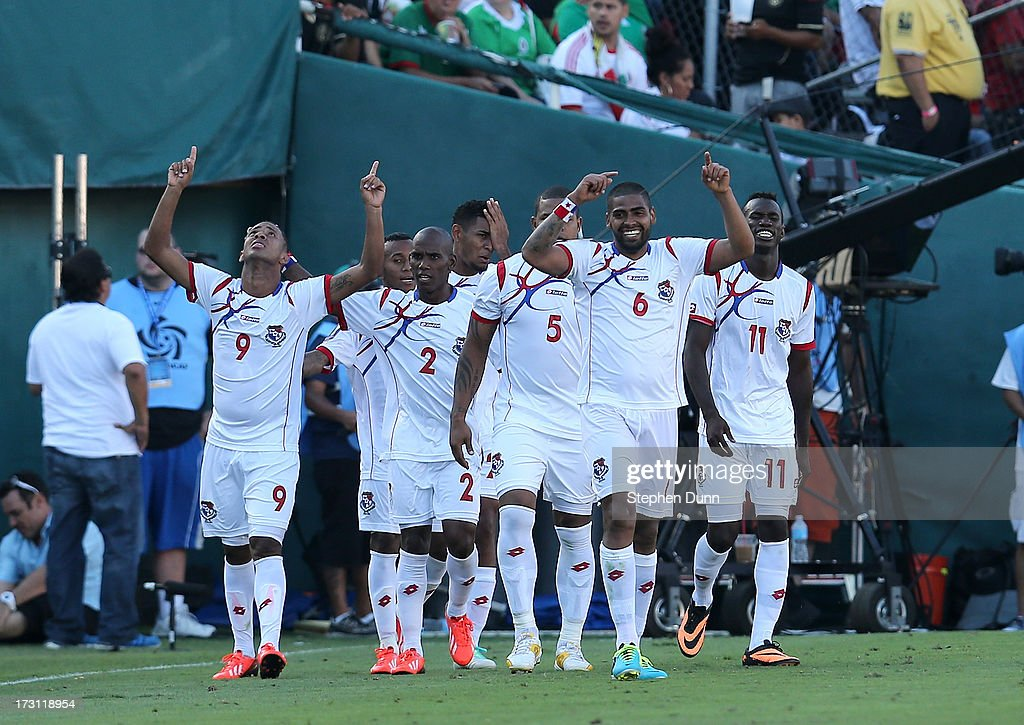 Panama players celebrate after Gabriel Torres #9 (L) scored his second goal of the game against Mexico during the first round of the 2013 CONCACAF Gold Cup at the Rose Bowl on July 7, 2013 in Pasadena, California. Panama won 2-1.