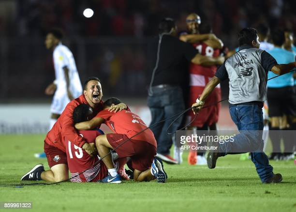 Panama players celebrate with fans after qualifying for the World Cup for the first time ever in their qualifier football match Costa Rica in Panama...