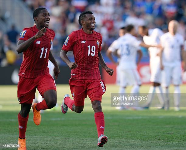 Panama players Panama's Armando Cooper and Rolondo Blackburn run to goal keeper Luis Mejia after the shoot out during the 2015 CONCACAF Gold Cup...