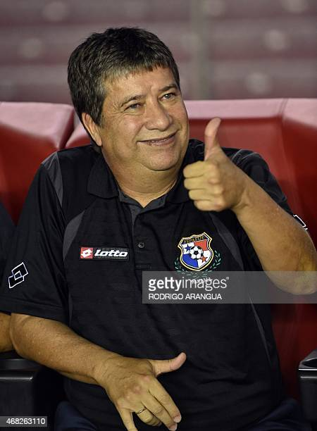 Panamanean head coach Hernan Dario Gomez gestures during a friendly football match against Costa Rica at the Rommel Fernandez stadium in Panama City...