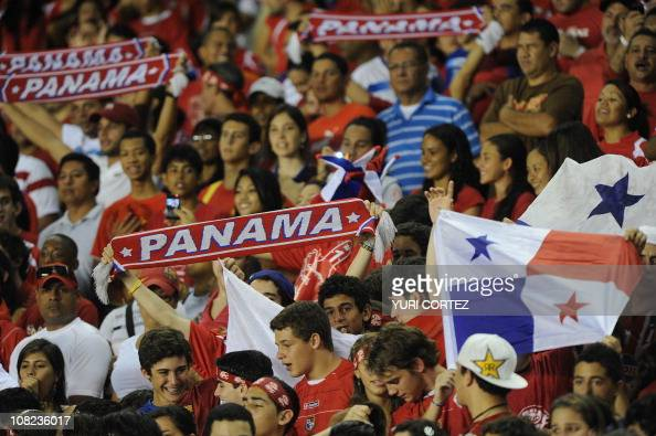 Panamanian fans shouts during the Central America Cup match of semifinals between Panama and Costa Rica at the Rommel Fernandez stadium in Panama...