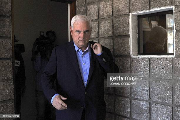 Panamanian former president and deputy of the Central American Parliament Ricardo Martinelli arrives to a parliament's plenary session in Guatemala...