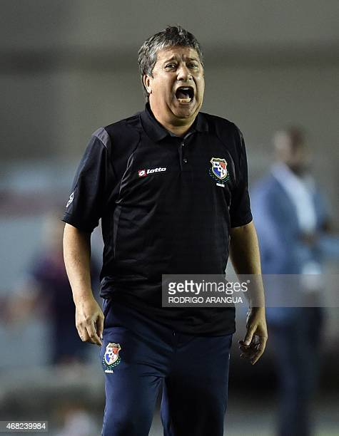 Panamanian head coach Hernan Dario Gomez gestures during a friendly football match against Costa Rica at the Rommel Fernandez stadium in Panama City...