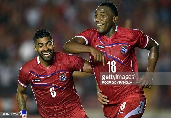 Panamanian player Luis Tejada celebrates after scoring against Costa Rica during a friendly football match at the Rommel Fernandez stadium in Panama...