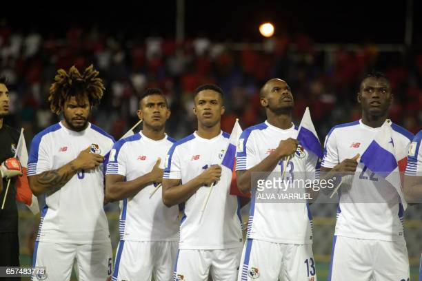 Panamanian players listen to their national anthem before their 2018 FIFA World Cup qualifier football match against Trinidad and Tobago in Port of...