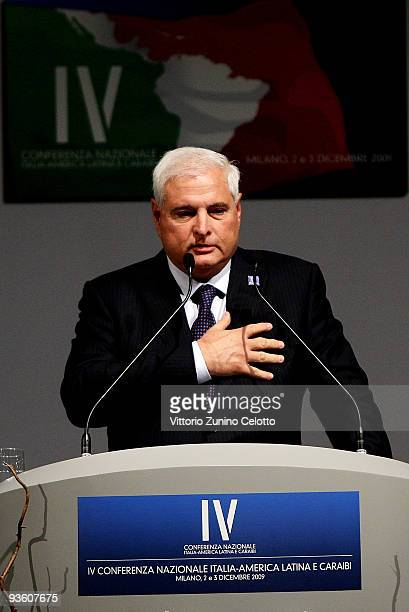 Panamanian President Ricardo Martinelli attends the IV National Conference On Italy Latin America And The Caraibean on December 2 2009 in Milan Italy...