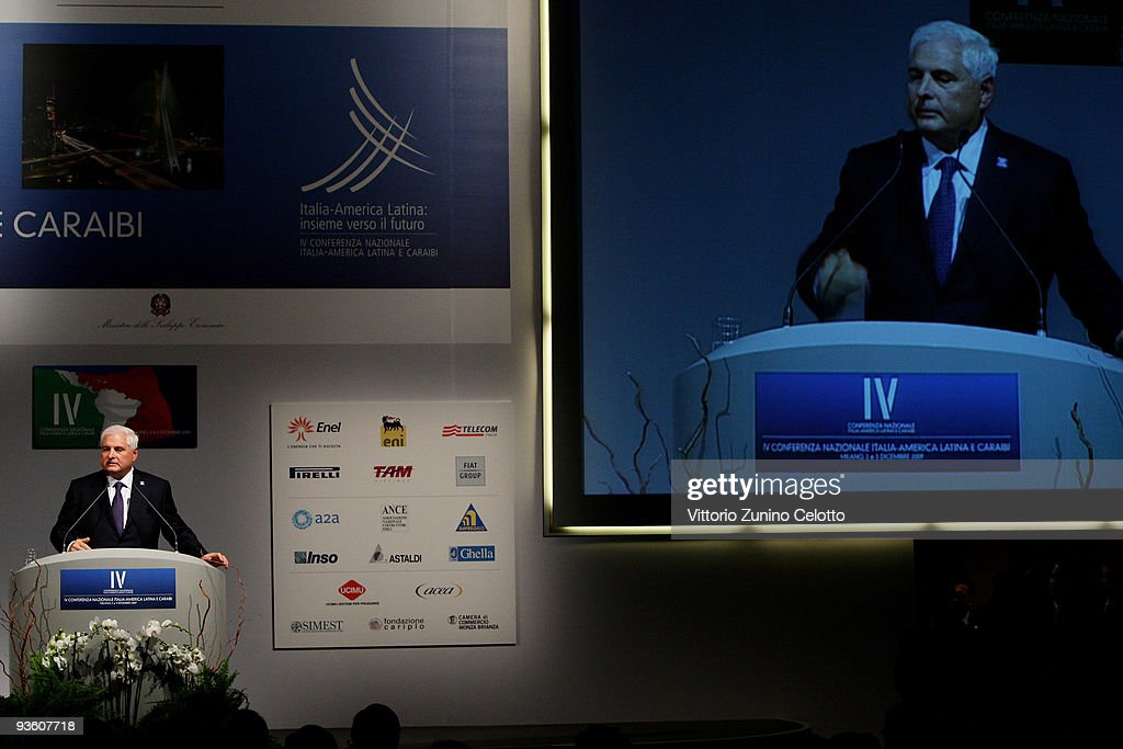 Panamanian President <a gi-track='captionPersonalityLinkClicked' href=/galleries/search?phrase=Ricardo+Martinelli&family=editorial&specificpeople=3042222 ng-click='$event.stopPropagation()'>Ricardo Martinelli</a> attends the IV National Conference On Italy - Latin America And The Caraibean on December 2, 2009 in Milan, Italy. The theme of the conference is 'A new season of cooperation between Italy, Latin America and the Caribbean'.