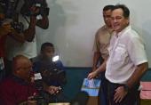 Panamanian presidential candidate Juan Carlos Navarro of the Partido Revolucionario Democratico casts his vote at a polling station in Panama City...