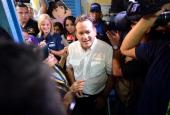Panamanian presidential candidate Juan Carlos Navarro of the Partido Revolucionario Democratico arrives at a polling station in Panama City during...