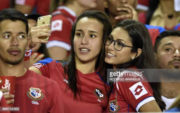 Panamanian supporters make a selfie as they wait for the beginning of the FIFA World Cup Russia 2018 Concacaf qualifier match against Honduras in...
