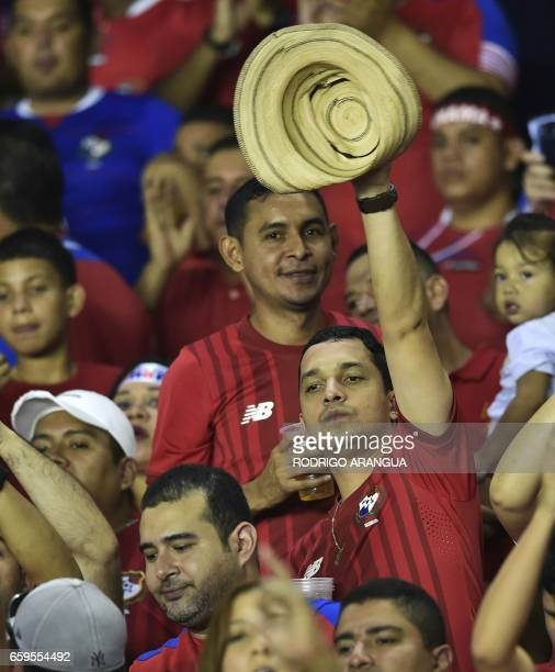 Panamanian supporters wait for the start of the 2018 FIFA World Cup qualifier football match against the United States in Panama City on March 28...