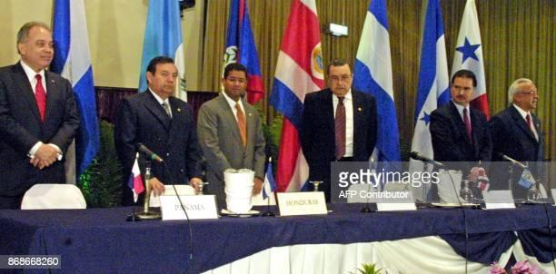 Panamanian Vice President Kaiser Bazan Chancellor of Hunduras Guillermo Perez President of El Salvador Fransisco Flores President of Costa Rica Abel...