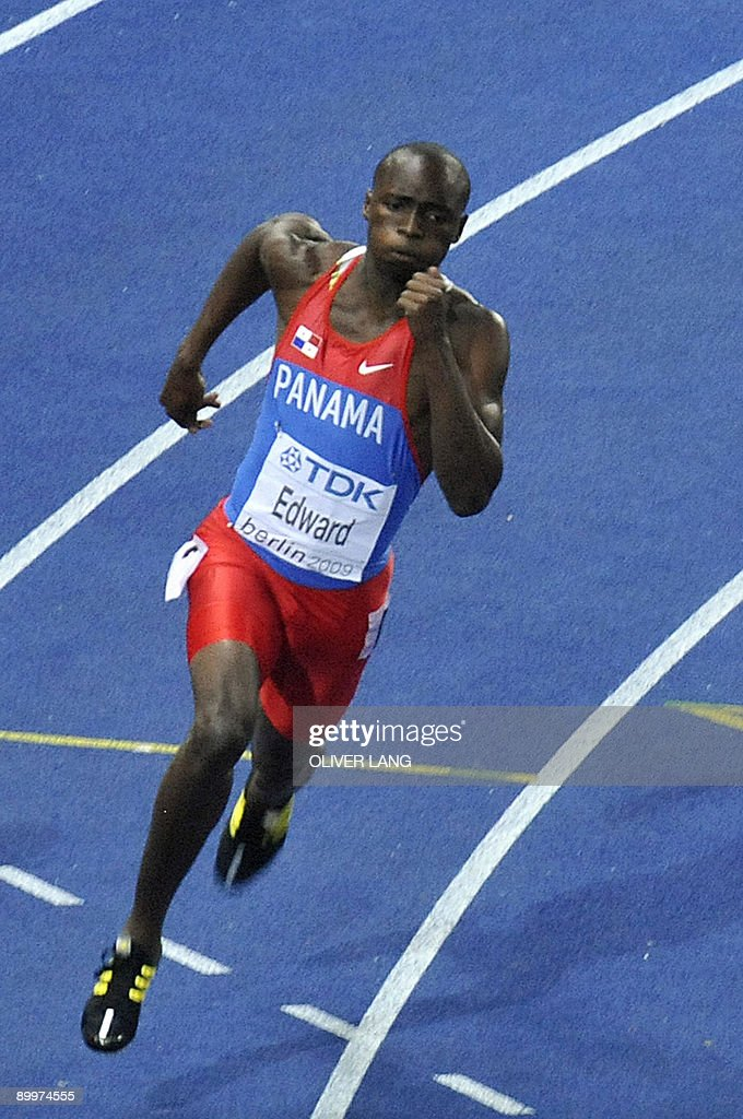 Panama's <a gi-track='captionPersonalityLinkClicked' href=/galleries/search?phrase=Alonso+Edward+-+Sprinter&family=editorial&specificpeople=6147378 ng-click='$event.stopPropagation()'>Alonso Edward</a> competes in the men's 200m final race of the 2009 IAAF Athletics World Championships on August 20, 2009 in Berlin. Edward won the Silver with 19.81sec.