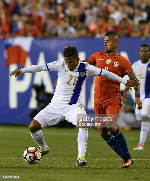 Panama's Amilcar Henriquez is marked by Chile's Arturo Vidal during their Copa America Centenario football tournament match in Philadelphia...
