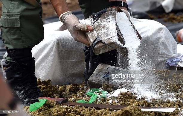 Panama's antinarcotics personnel prepare to burn over 10 tons of cocaine and marijuana in Cerro Patacon a dump near Panama City on October 16 2015...