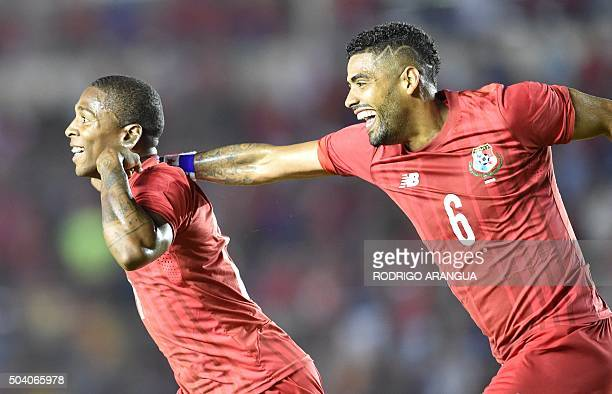 Panama's Armando Cooper and Gabriel Gomez celebrate a goal against Cuba during a playoff to the Copa America 2016 tournament in Rommel Fernandez...